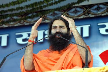 Baba Ramdev during Yoga Shibir at Bandra Kurla Complex.