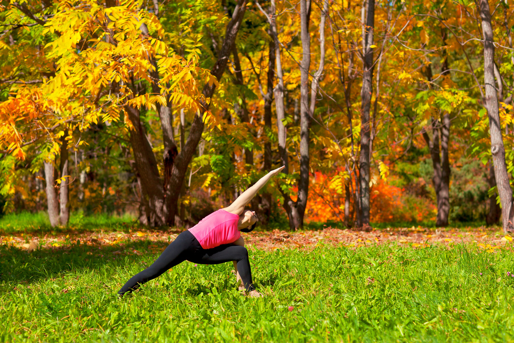 Yoga pose in Autumn
