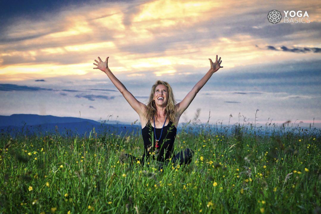 seated yoga pose feeling gratitude giving thanks