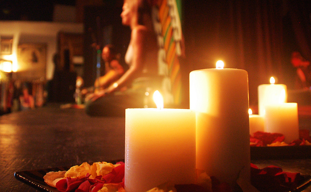 yoga and meditation by candlelight