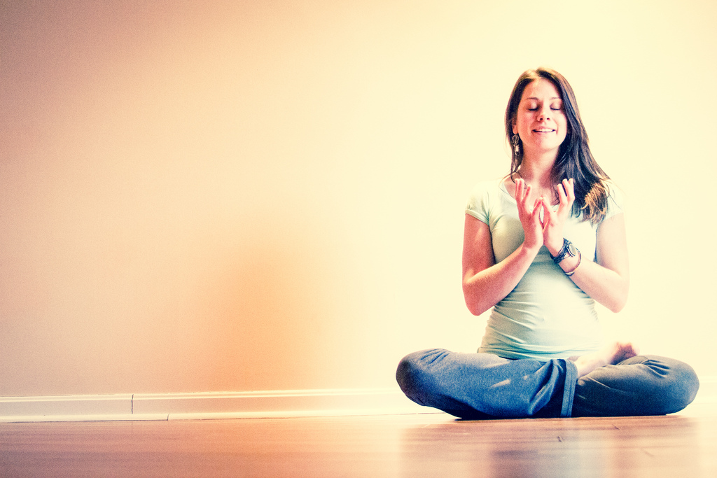 yoga woman lotus mudra