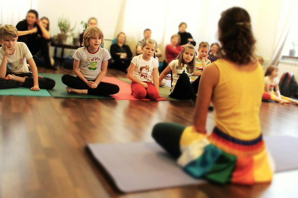 teaching yoga to kids