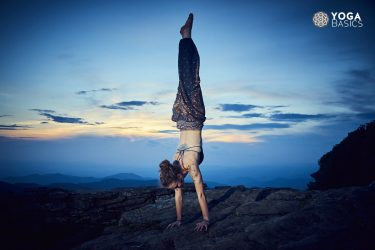 Skillful Yoga Student handstand pose