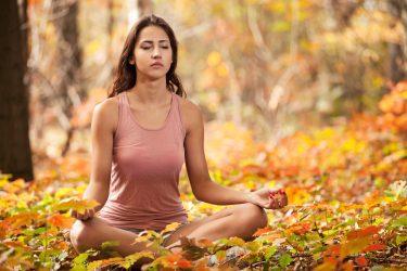 Yoga student Autumn meditation