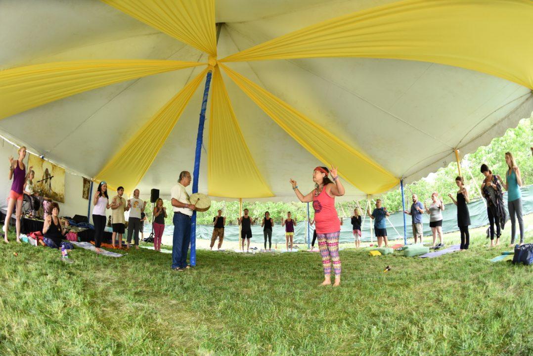 Kat Tudor teaching yoga class